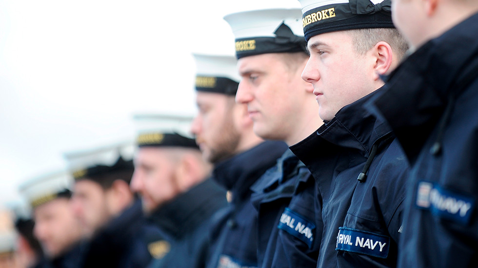 Royal Navy personnel on board ship.