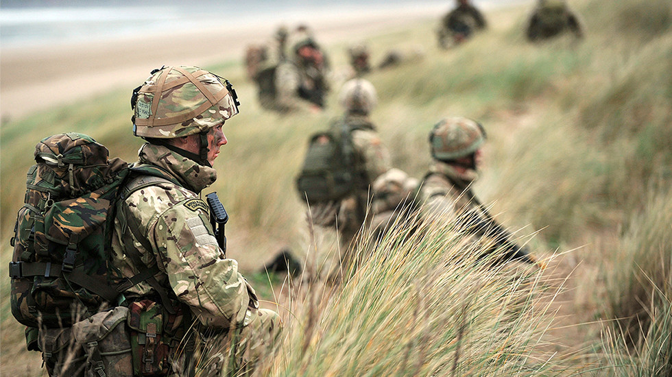 Royal Marines taking part in a training exercise.