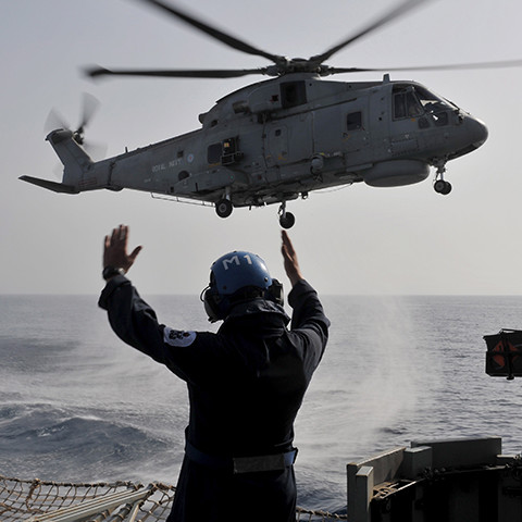 A Royal Navy Advanced Apprenticeship Air Engineer at work