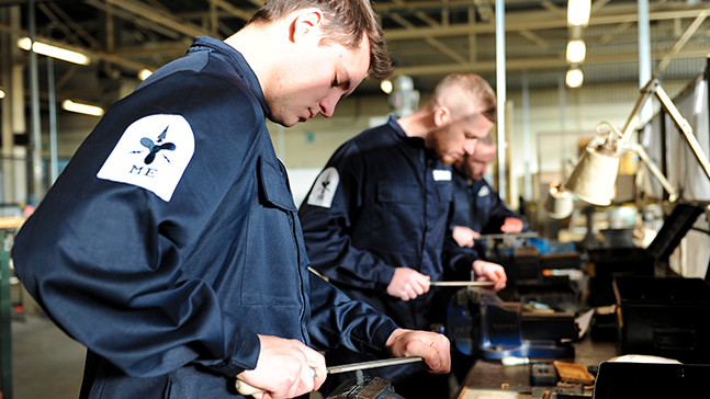 An Advanced Apprenticeship Air Engineering rating working on Royal Navy kit.