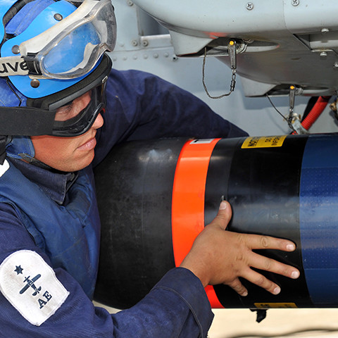 A Royal Navy Air Engineering Technician at work