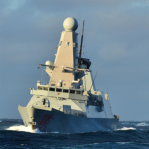 Royal Navy ship at sea