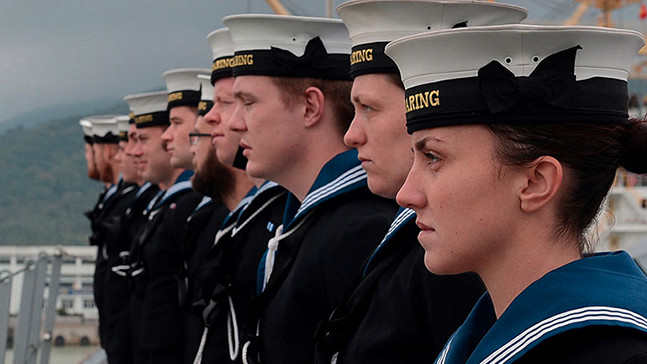 Royal Navy Reserves in uniform.