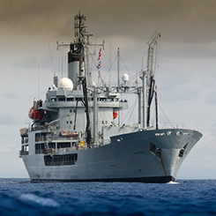 Royal Navy ship at sea.