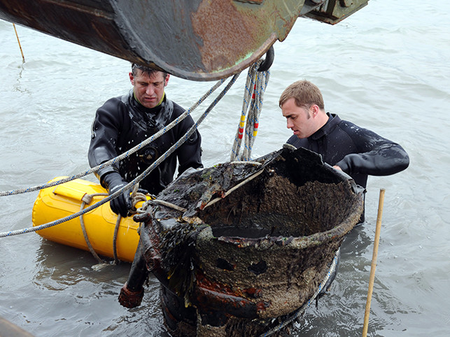 Two Royal Navy divers at work.