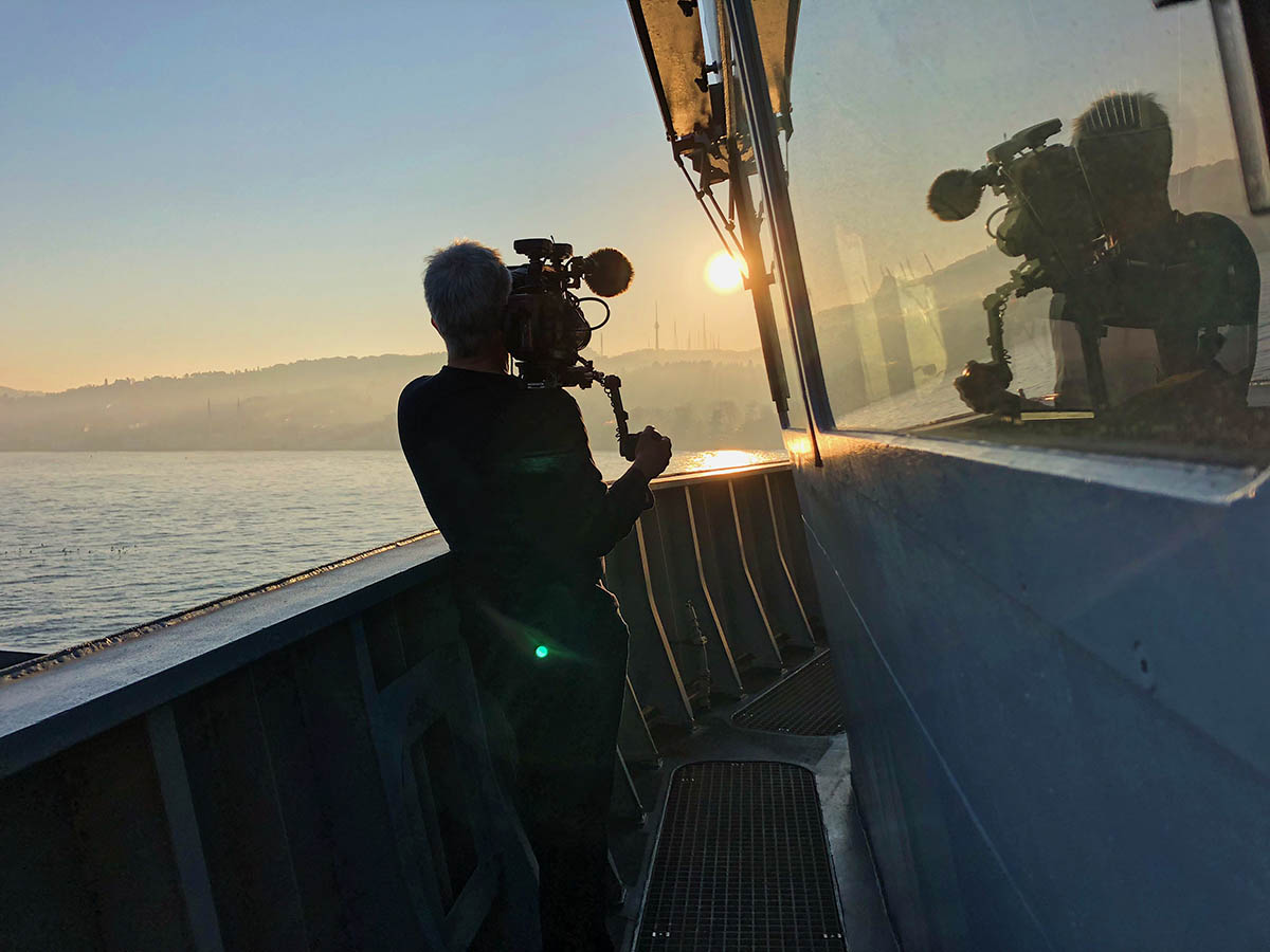 The documentary team filming aboard HMS Duncan in the Black Sea