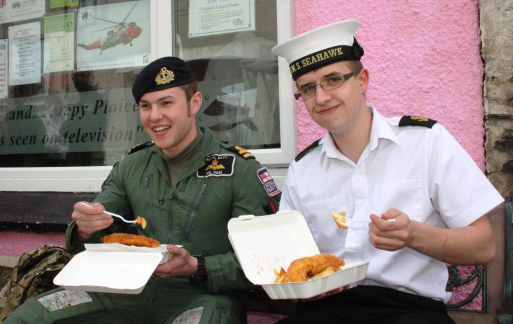 771 SAR NAS personnel at Roland's Happy Plaice