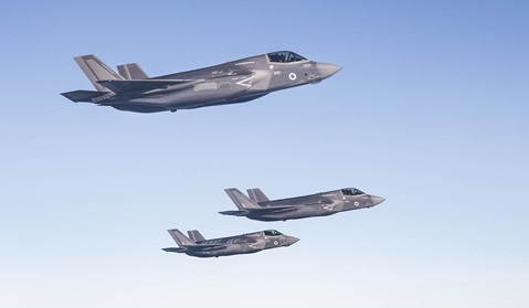 The first 617 Squadron F-35B Lightning aircraft make their way across the Atlantic ocean to their new home at RAF Marham. © Crown copyright 201