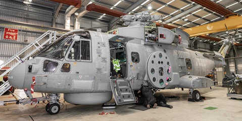 A Merlin is prepared for Crowsnest in 820 NAS' hangar