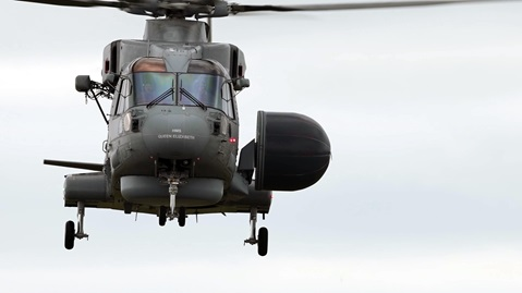Maiden flight of the first Crowsnest Merlin at Culdrose