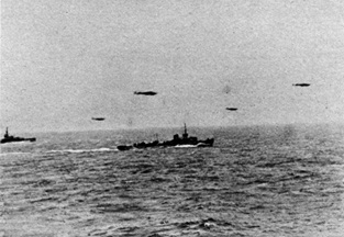 A grainy photograph of the Luftwaffe and patrol boat escort for the Channel Dash