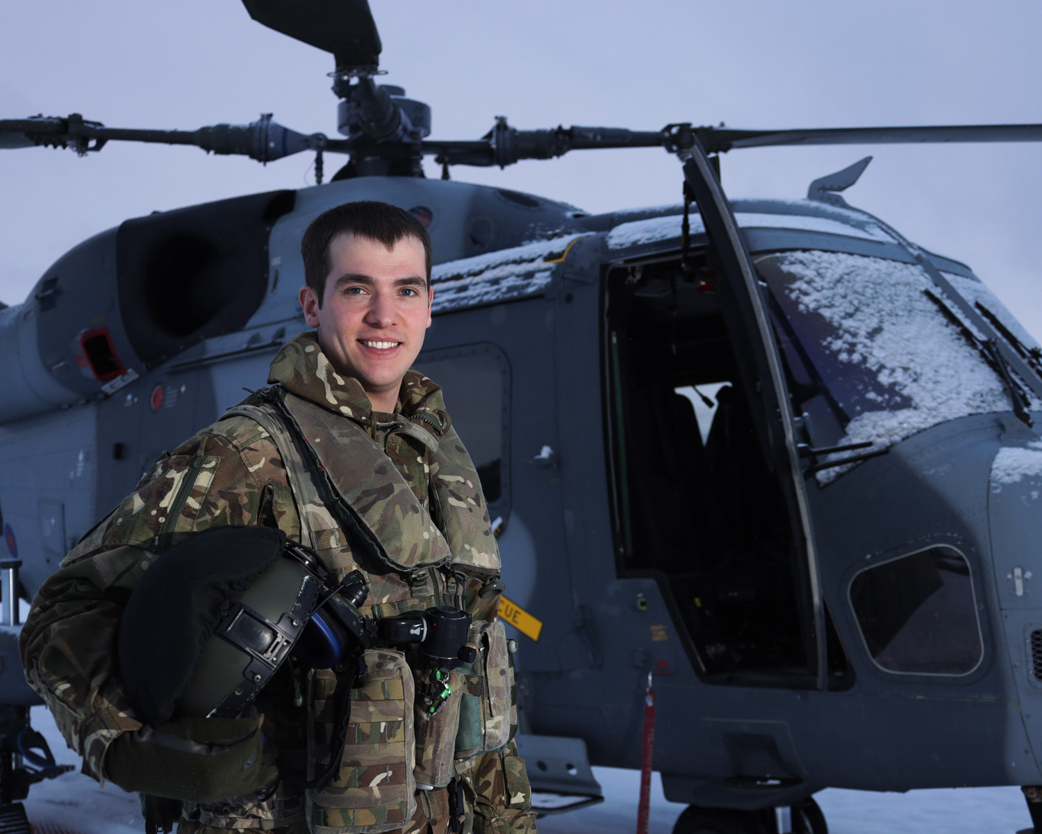 Pilot Lieutenant Mark Hanson, of 847 NAS, pictured by his Wildcat helicopter