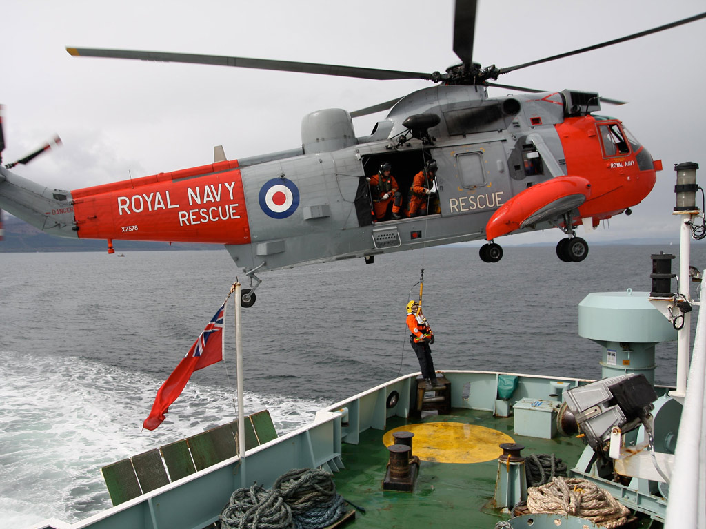 Royal Navy helicopter lifts ill man from cruise vessel