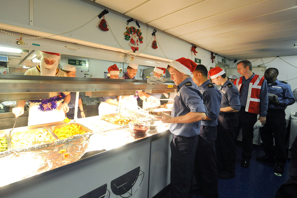 HMS Illustrious celebrates Christmas at sea