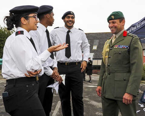 Brigadier Graeme Fraser RM, speaking with Navy Cadets at HMS Cambria, Cardiff.