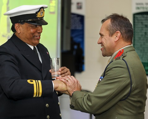 Pictured from Left to Right: Royal Navy Honorary Commissioned Officer Lieutenant Commander Raj Aggarwal RN and Brigadier Graeme Fraser RM at HMS Cambria, Cardiff.