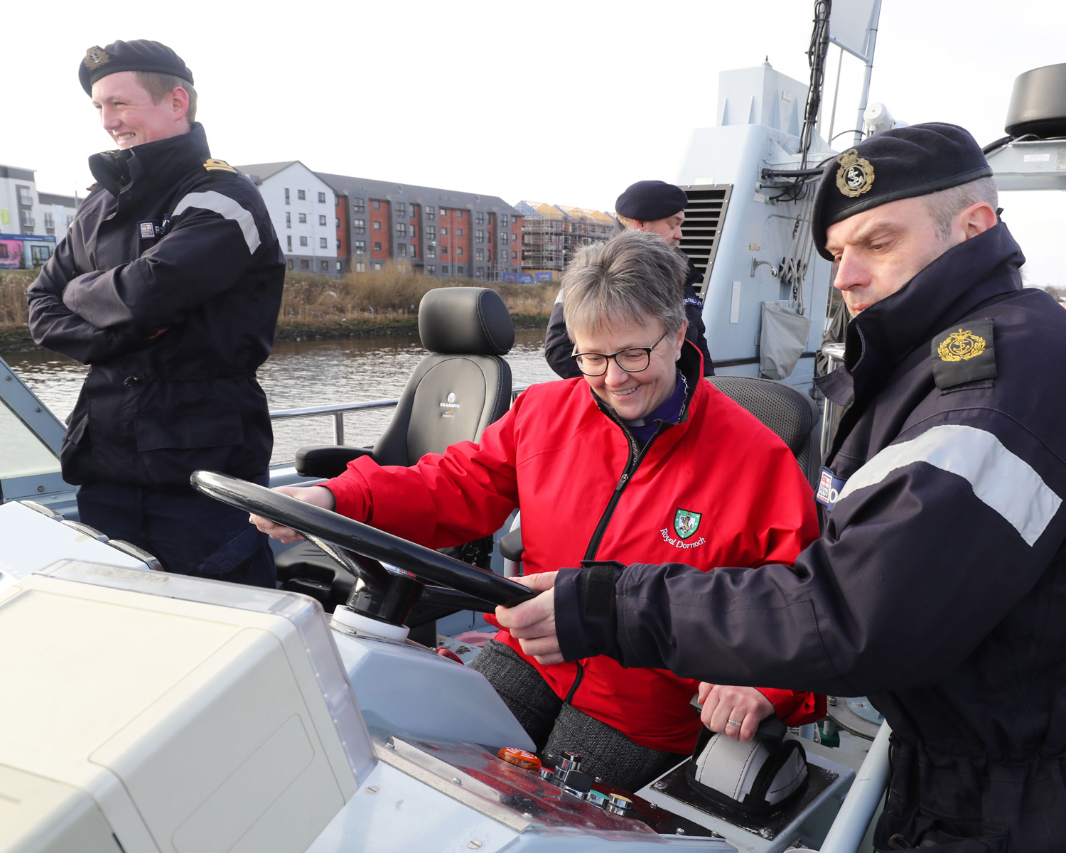 The Right Reverend Susan Brown on board Glasgow & Strathclyde University Royal Navy Unit's training boat HMS Pursuer.