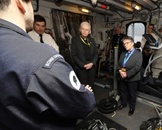 On board mine hunter HMS Grimsby at HMNB Clyde, meeting some of the Royal Navy Mine Disposal experts.