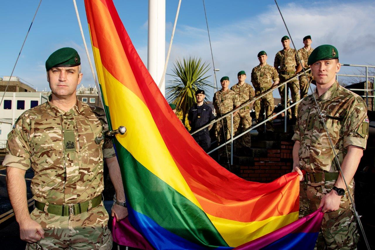 Royal Marines of 43 Commando in Faslane raise the rainbow flag