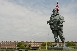 The iconic Yomper statue at the museum entrance