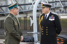 Russian Defence Attaché Colonel Maxim Elovik and Rear Admiral Iain Lower discuss the Arctic convoys