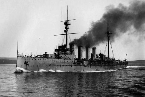 Armoured cruiser HMS Natal at sea