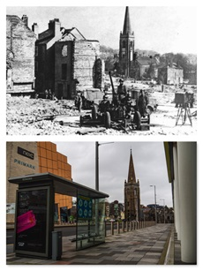 Charles Church before it was bombed and how the rebuilt site looks today