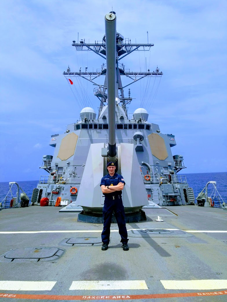 S/Lt Tom Hillier on the fo'c'sle of the USS PREBLE (DDG 88), a guided-missile destroyer, at sea in the Pacific Ocean during RIMPAC.