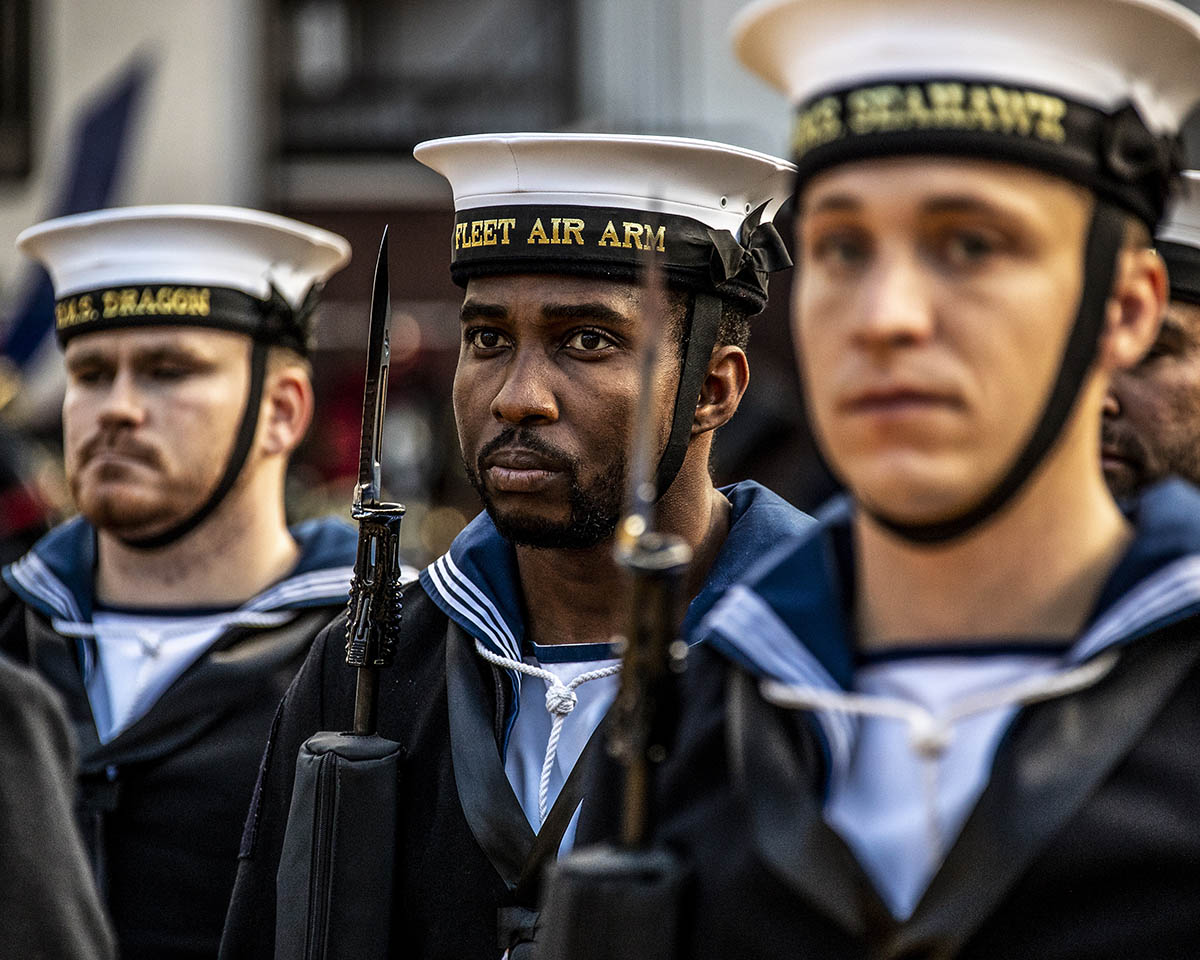 Members of the Royal Navy Guard during the Lord Mayor's Show in London.