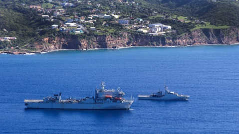 RFA Argus sails in company with HMS Medway off the coast of Montserrat