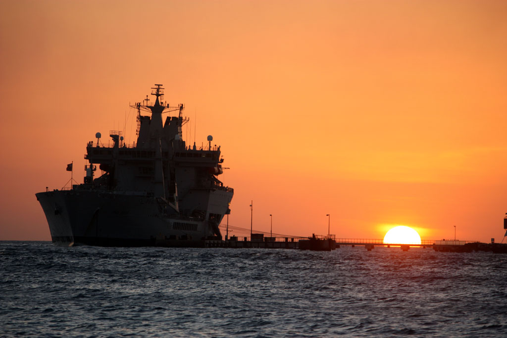RFA Wave Knight at sunset in Curacao