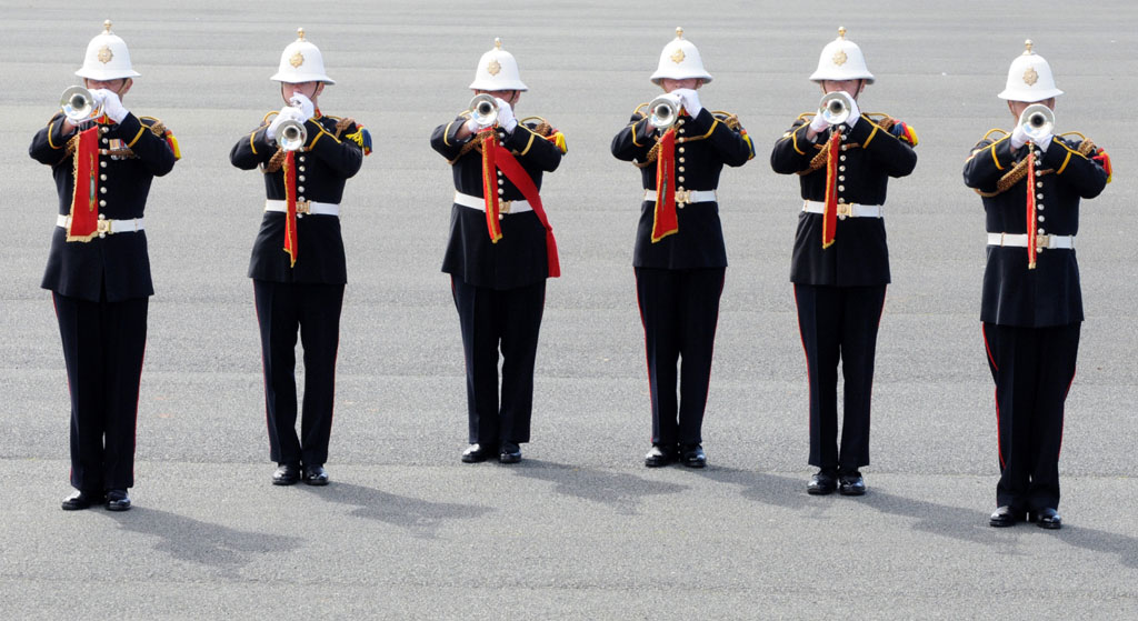 Six Buglers From Royal Marines Band, Plymouth practice for the Jubilee River Pageant