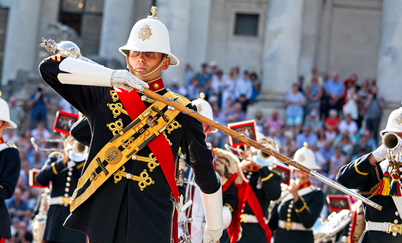 New recruits of the Royal Marines Band perform at Portsmouth Guildhall