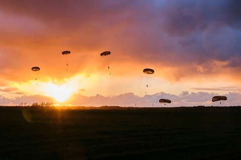 Royal Marines parachuting from a C130 at Denmark during Exercise Baltic Protector