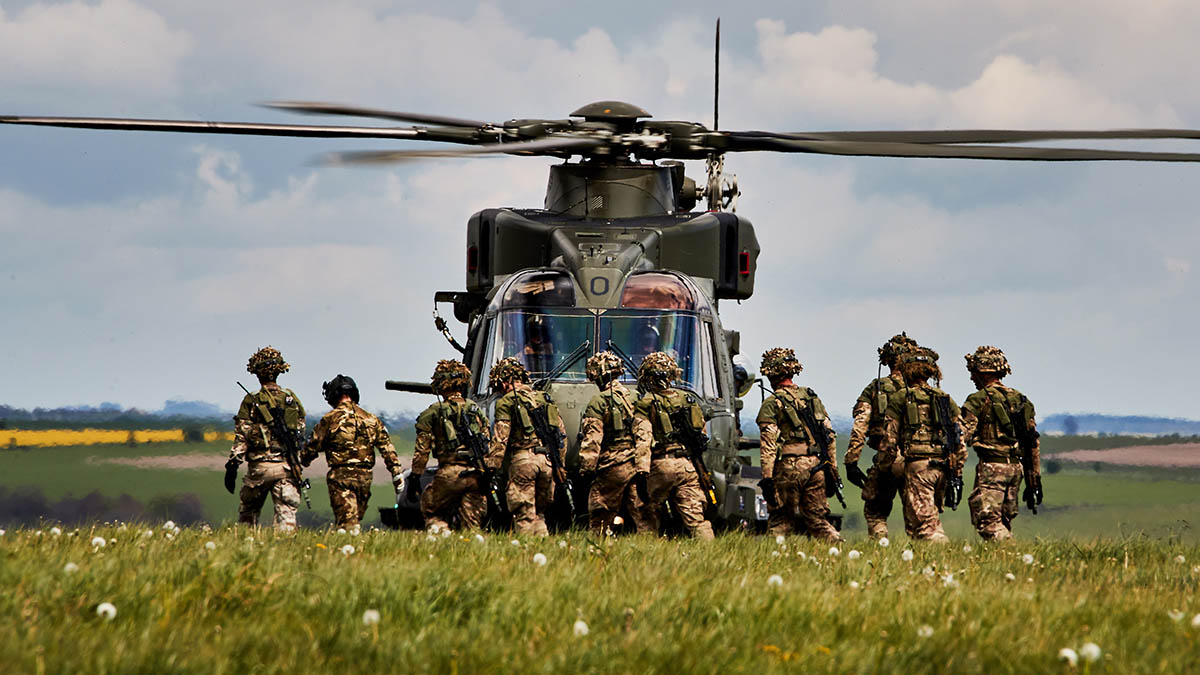 Merlin iMk3 helicopter of 845 Naval Air Squadron (NAS) at Salisbury Plain training area (SPTA) supporting 40 Commando Royal Marines during exercise Wessex Storm