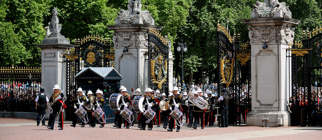 Royal Marines perform historic Changing of the Guard to mark