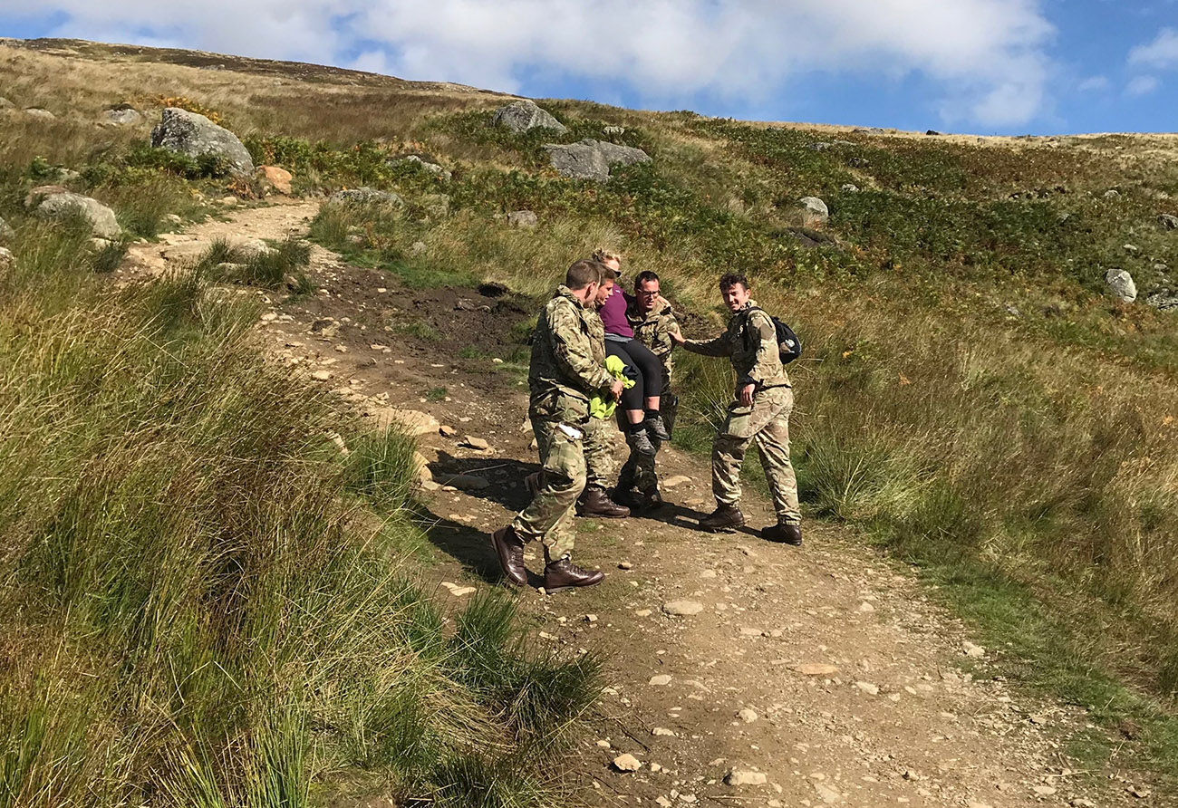 Royal Marines rescuing Susan Whitton in Glen Clova