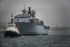 HMS Albion sails into Her Majesty's Naval Base in Devonport