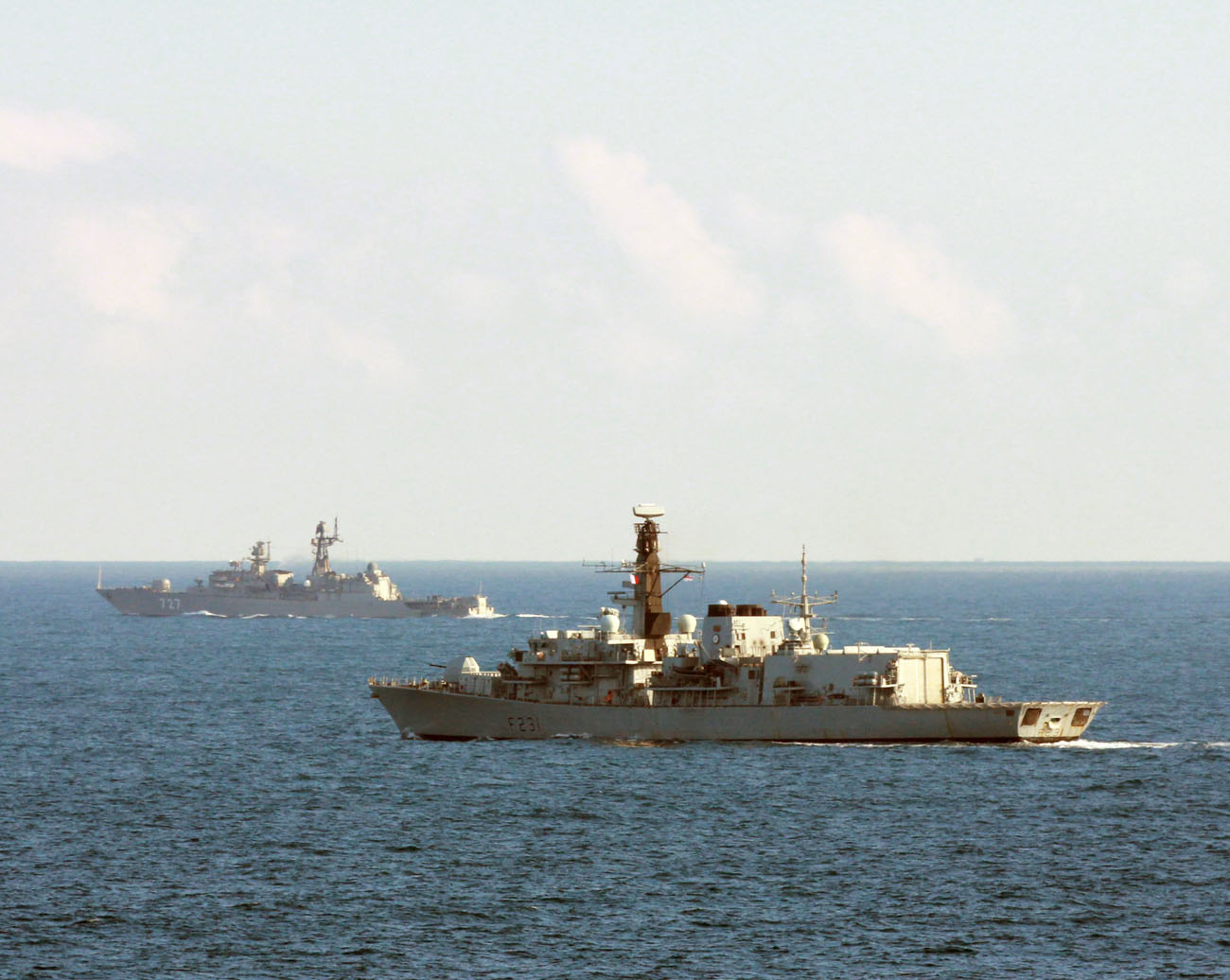 HMS Argyll intercepts Russian Frigate