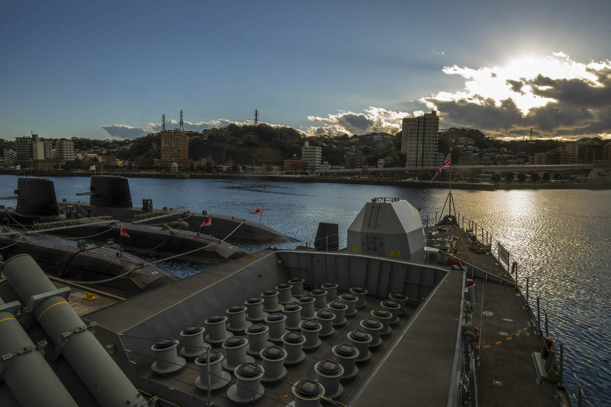 HMS Argyll arrives in the US Naval Port in Yokosuka, Japan