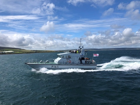 HMS Example takes members of the Orkney Island Council out on an Island tour.