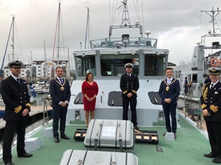 HMS Charger hosts local dignitaries on board during her visit to Carrickfergus.