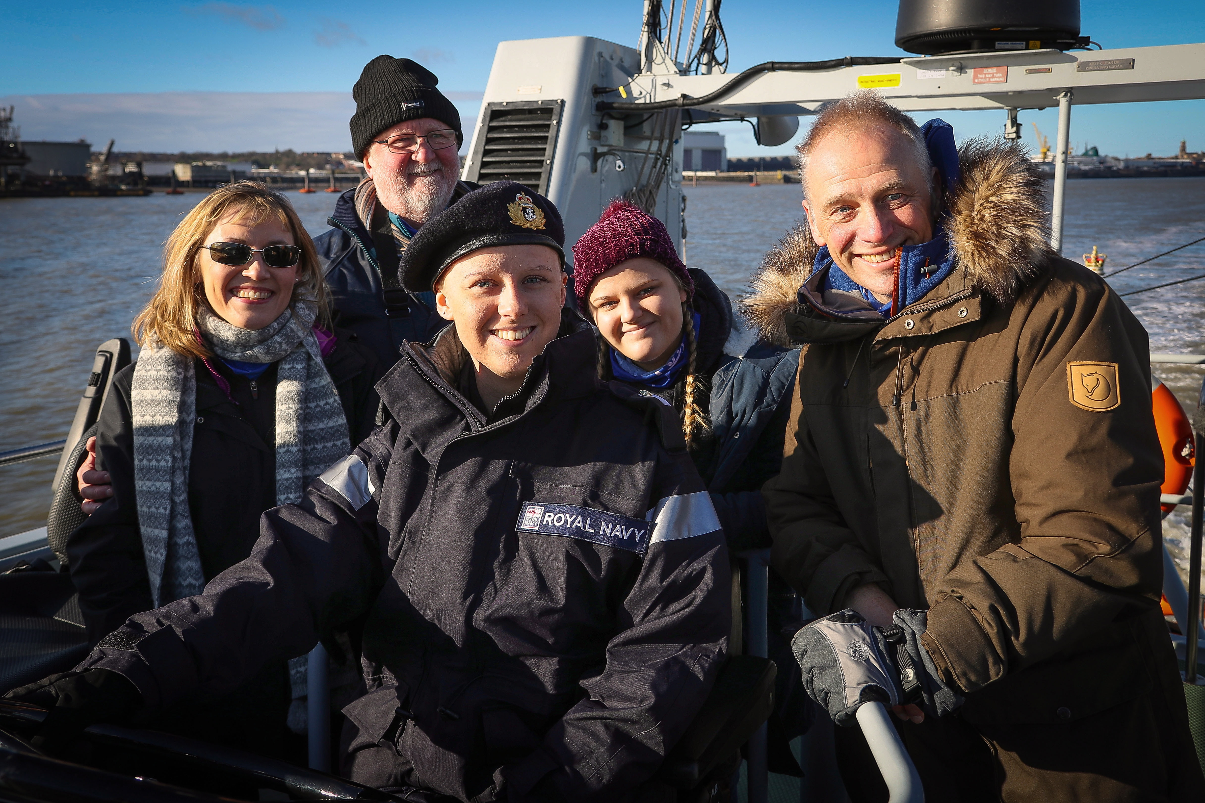 Laura Nuttall and her family on board HMS Charger
