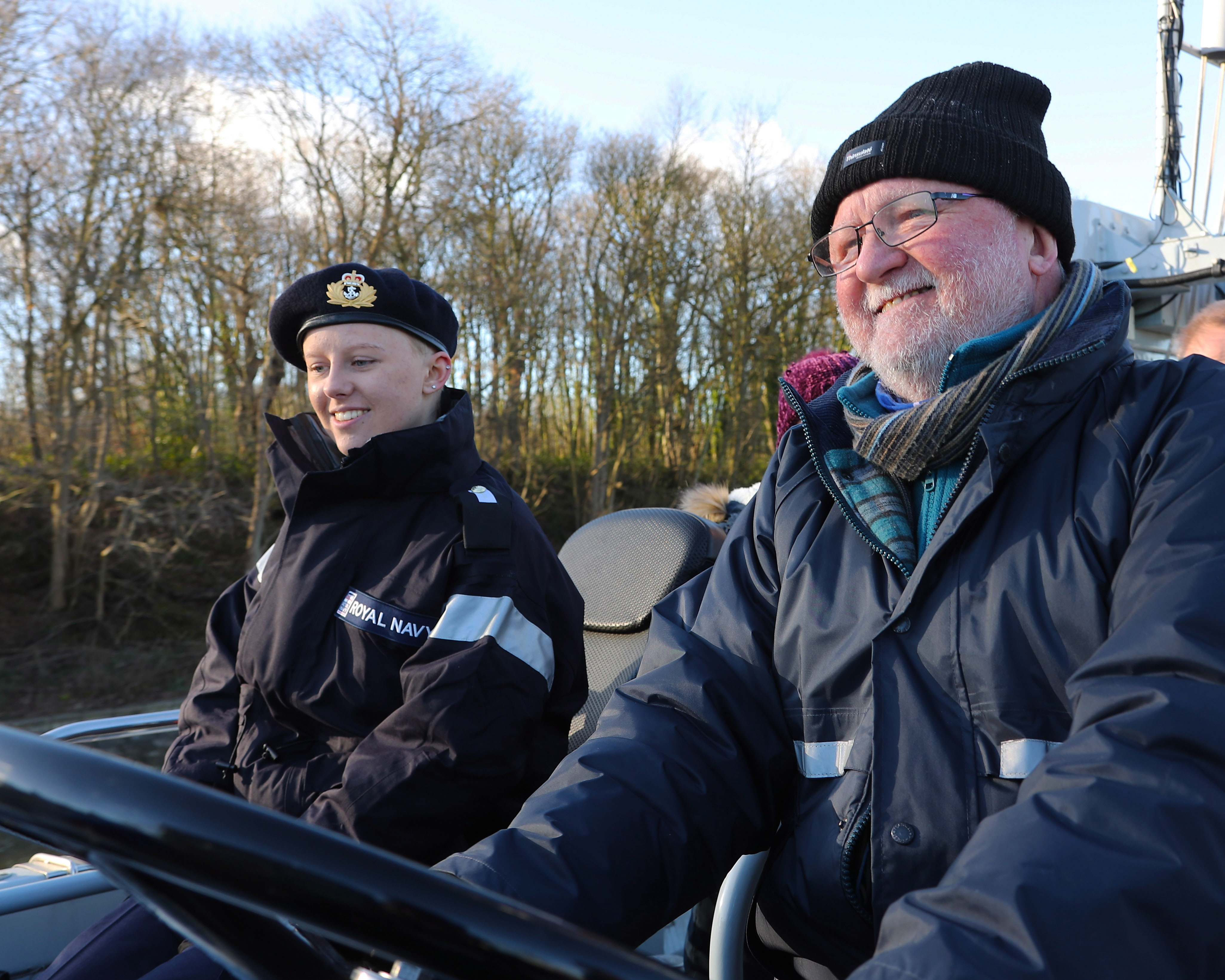 Laura Nuttall and her granddad David Anson on board HMS Charger