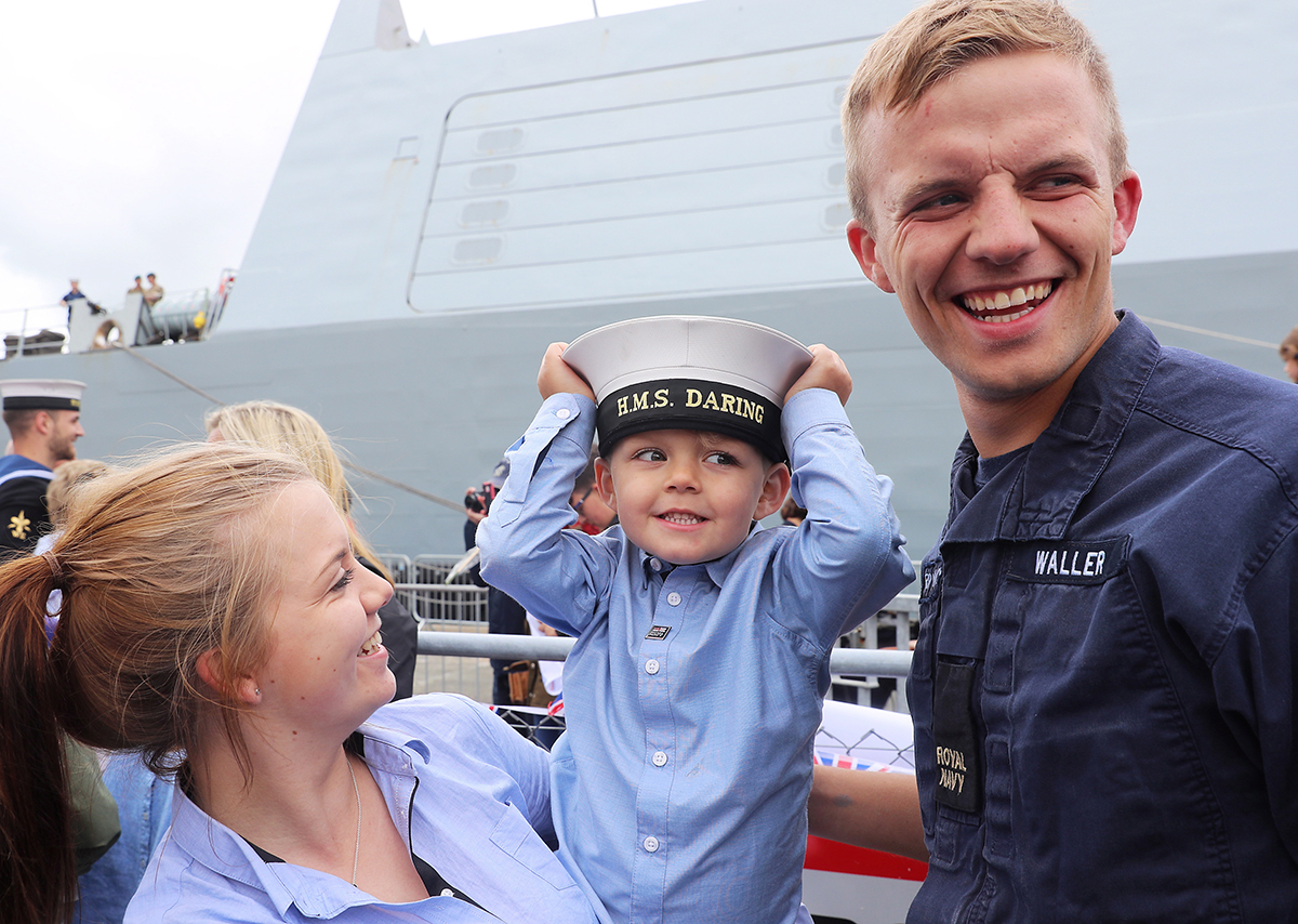 Archie Lancashire, 5, with mother Abbie-Leigh Waller and uncle Able Seaman (Seaman Specialist) Callum Waller