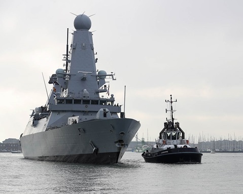 HMS Diamond returning to harbour at Portsmouth Naval Base