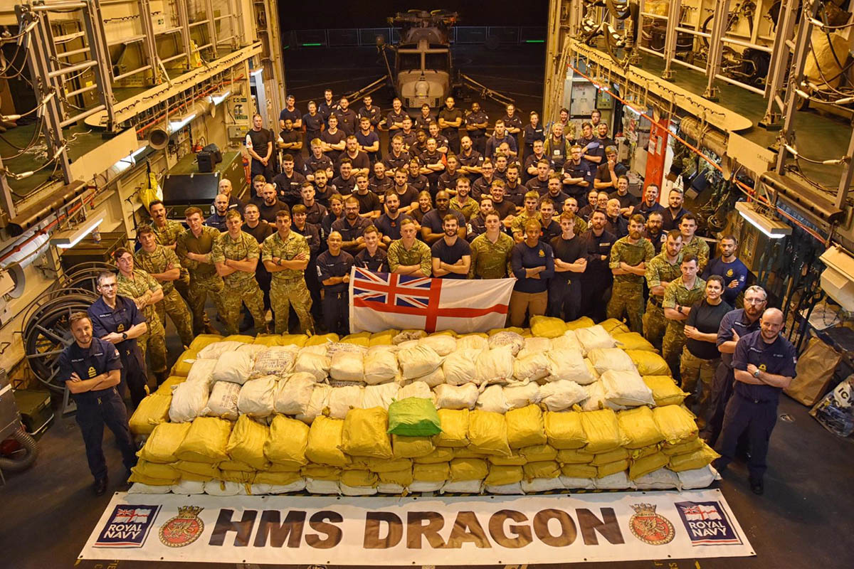 Boarding and painstakingly searching the boats, personnel removed hundreds of sacks of narcotics worth a UK street value of more than £75 million.