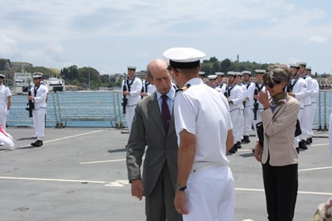 HRH the Duke of Kent visits HMS Duncan in Corfu