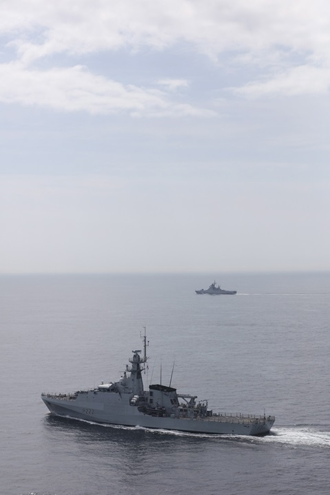 HMS Forth (foreground) accompanies the Russian Navy's corvette, Vasily Bykov, through the English Channel.