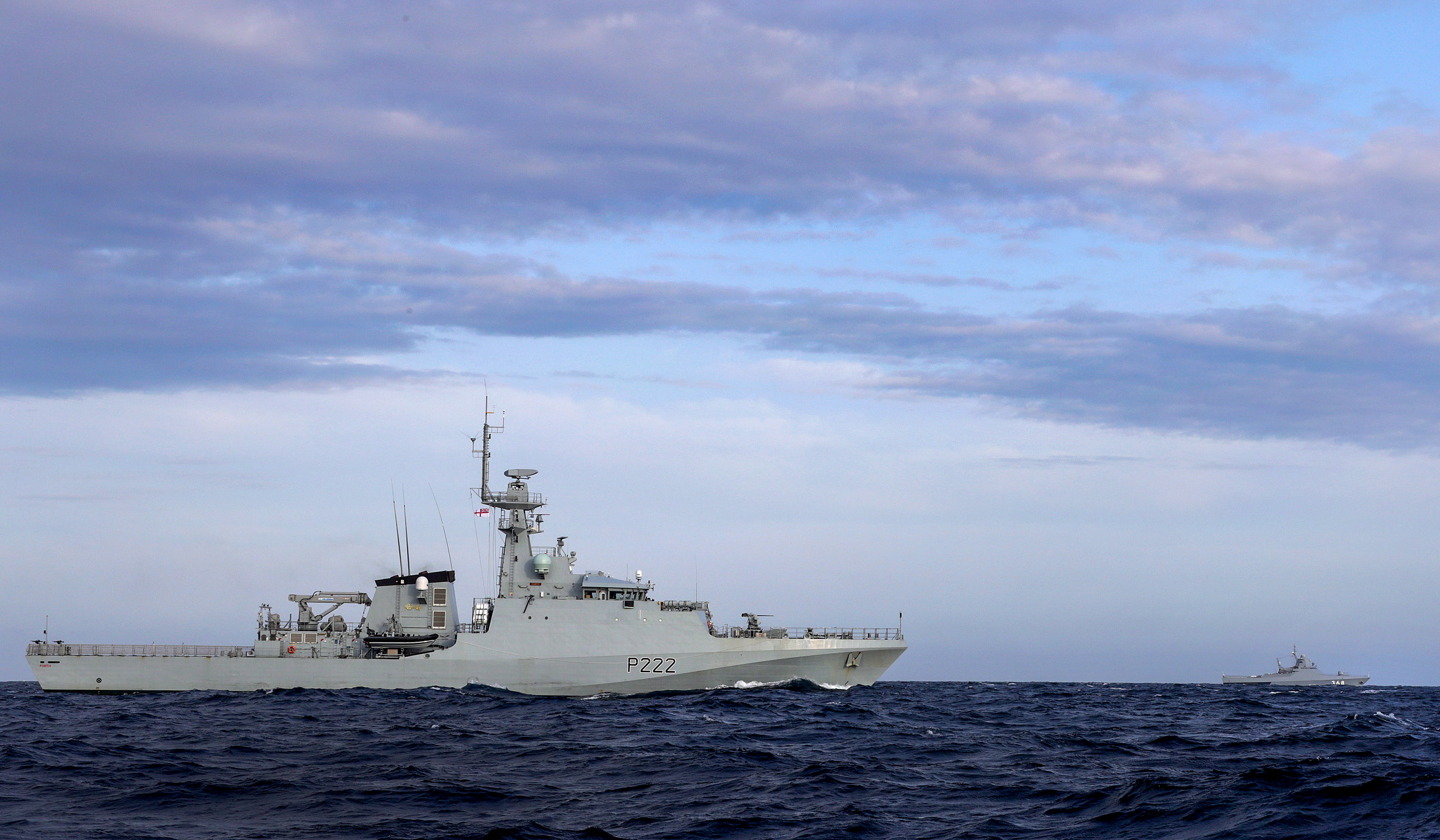 HMS Forth monitors a Russian vessel through English Channel. Picture: LPhot Rory Arnold